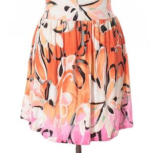 Lane Bryant Orange Pink Floral Skirt
